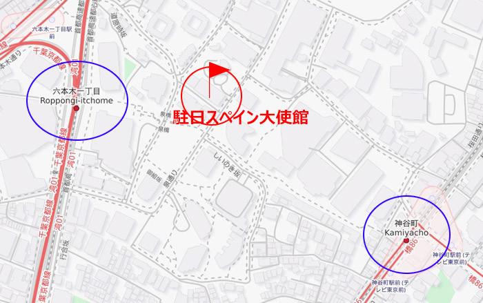 スペイン大使館の地図と位置