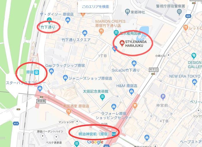 3ce店舗 原宿店の地図
