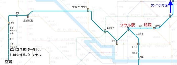 仁川空港の鉄道 路線図