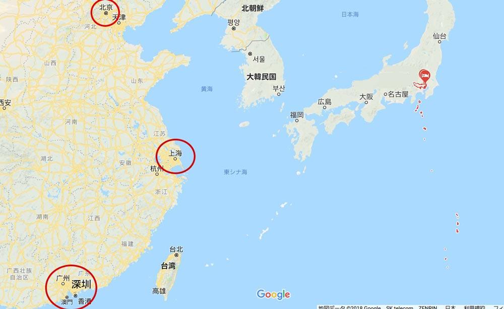 チャイナポスト 日本までの日数・地図