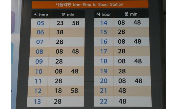 仁川空港 明洞ソウル駅まで時刻表