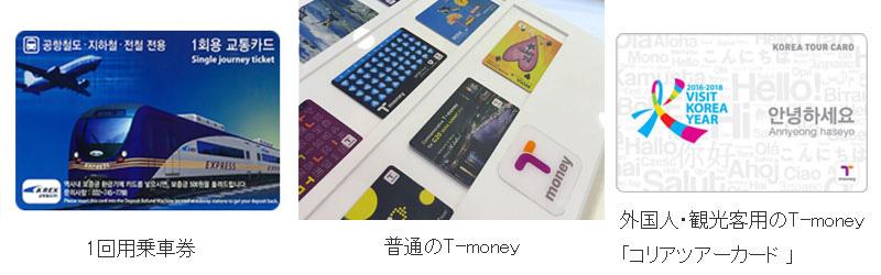 韓国交通カード tmoneyの種類