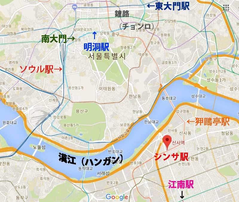 3ce店舗韓国 3ceシネマ・カロスキルの地図