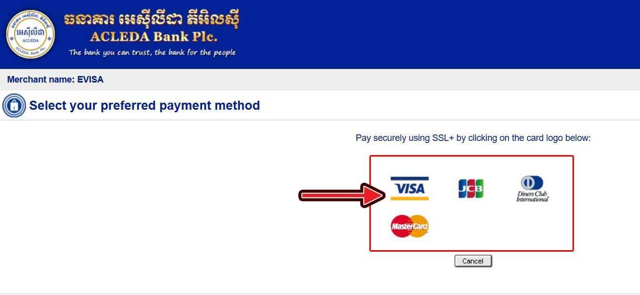 カンボジアビザ E-visaの支払い前のクレジットカード選択画面