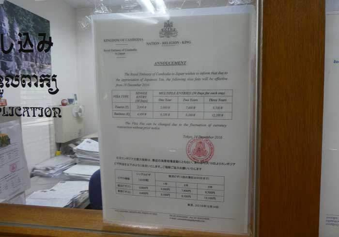 カンボジアビザの申請料金と値段