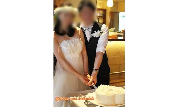 ハワイの結婚式 ケーキカッティング