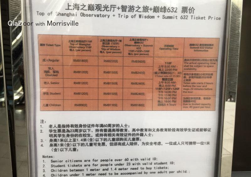 上海タワーの料金・値段表
