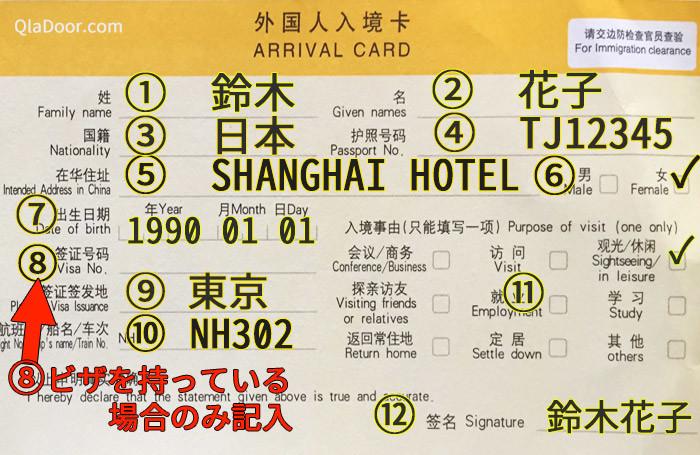 中国入国カードの書き方・記入例