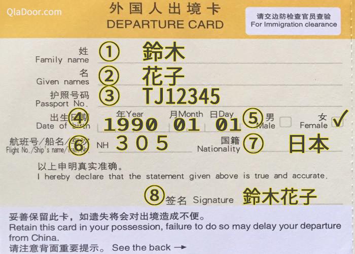 中国出国カードの書き方・記入例