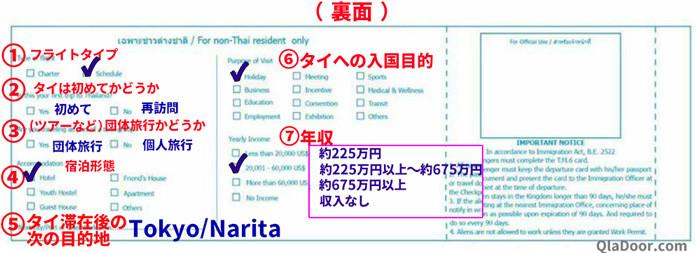 タイ出入国カードの書き方と記入例
