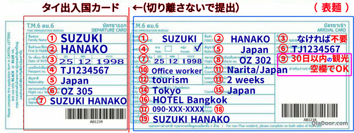 タイ出入国カードの記入例