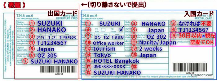 タイ出入国カードの書き方の例