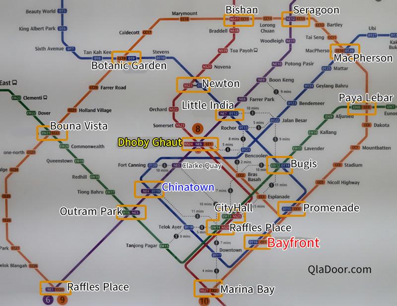 ガーデンズバイザベイのMRT路線図