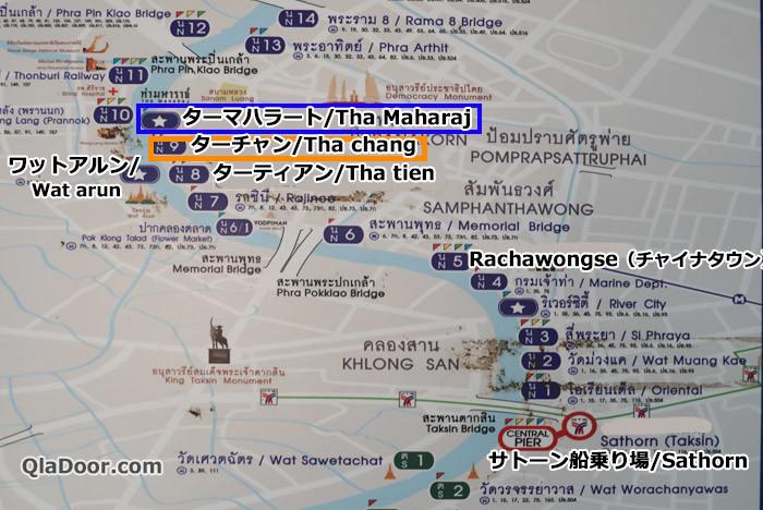 ワットプラケオの水上バスアクセス地図