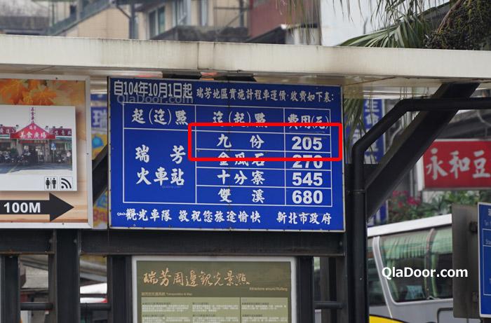瑞芳駅から九份までのタクシー料金