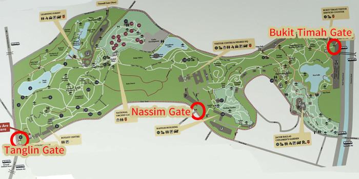 シンガポール植物園の入り口の地図