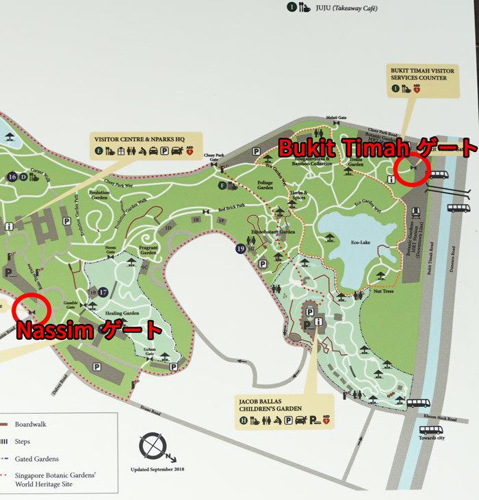 シンガポール植物園の右側マップ