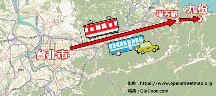 台湾・台北市と九份の位置の地図
