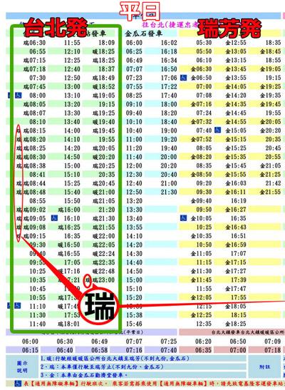 九份の1062バス時刻表