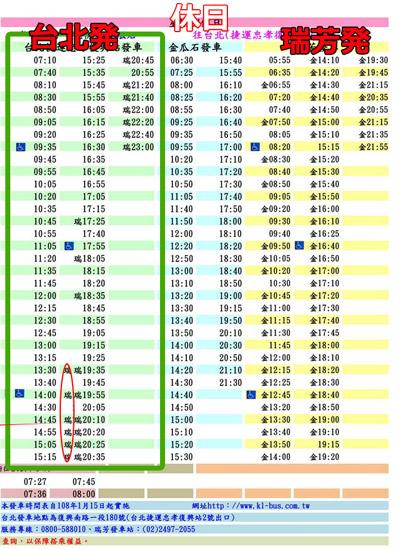 九份の台北からのバス時刻表