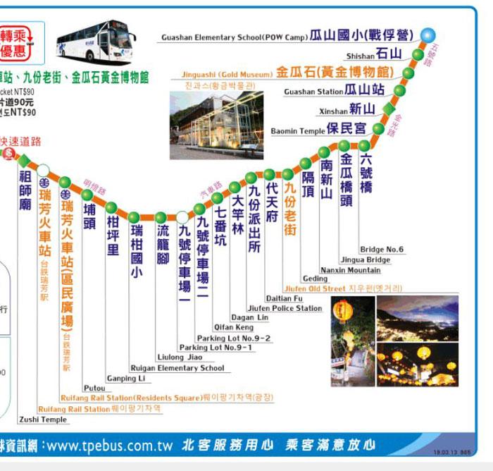 九份行きの台北からのバス・965番の時刻表