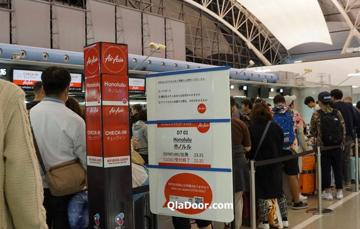 エアアジアX・ハワイの受託荷物・手荷物のチェックインの様子