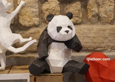 迪化街の典化文化藝術の紙で作ったパンダ