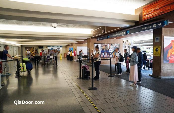 ハワイ・ホノルル空港の到着ロビー