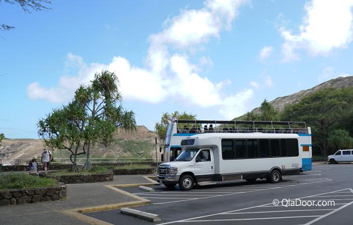 ハナウマ湾(ハナウマベイ)のオプショナルツアー送迎バス