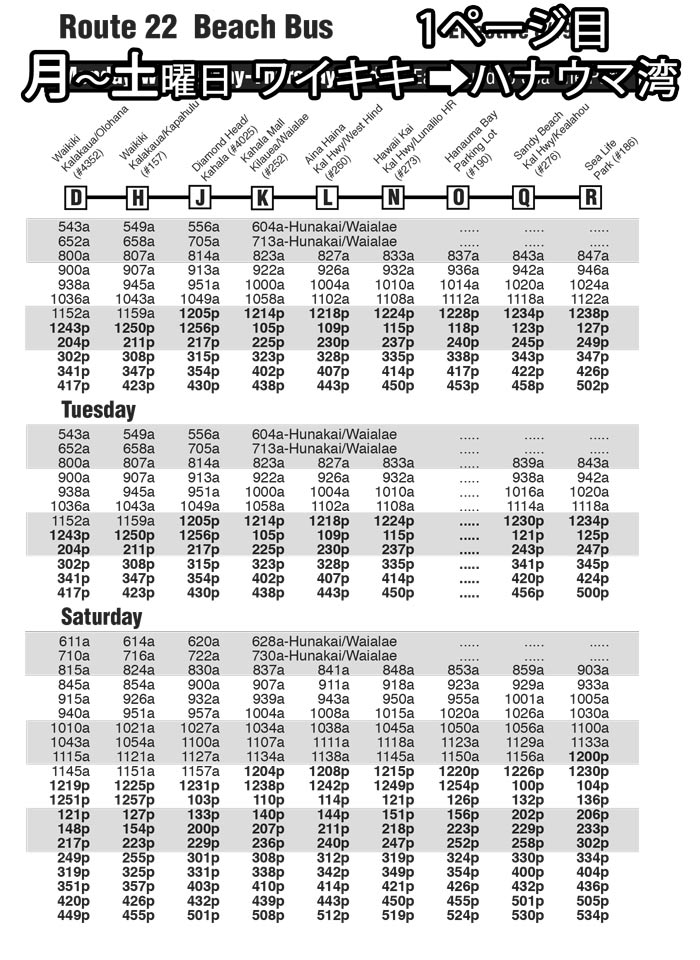 ワイキキからハナウマ湾までバスの時刻表
