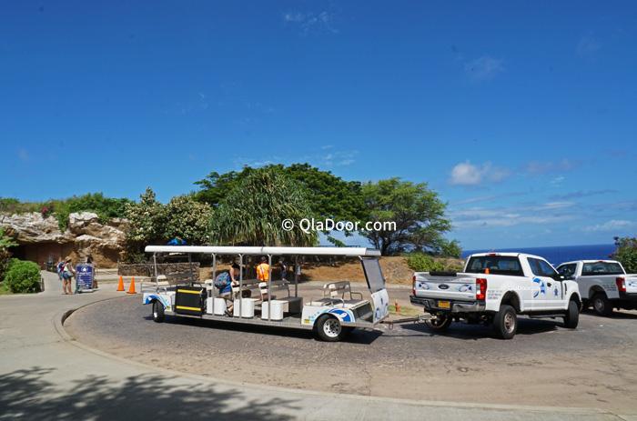 ハナウマ湾のシャトルバス・トロリー