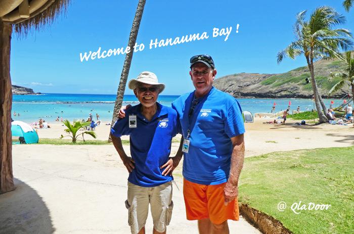 ハナウマ湾のボランティアスタッフさん