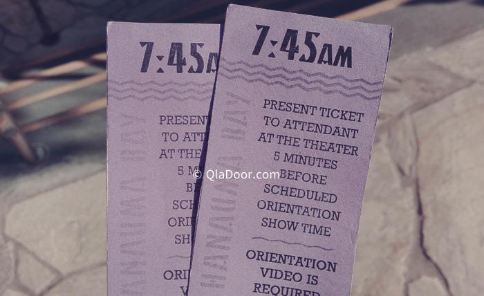 ハナウマ湾のビデオ鑑賞時間が書かれているチケット