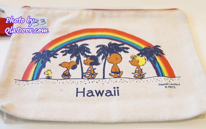 ハワイの日焼けスヌーピー・モニホノルルの布タイプポーチと価格