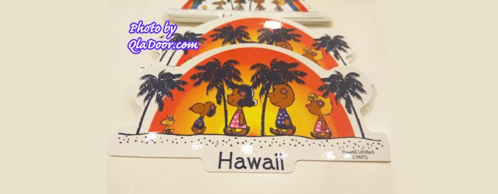 ハワイの日焼けスヌーピー・モニホノルルの夕日ステッカー