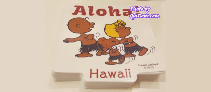 ハワイの日焼けスヌーピーとチャリブラウン&サリーステッカー