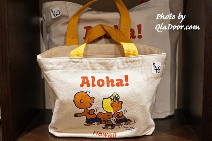 ハワイの日焼けスヌーピー・モニホノルルの黄色ミニトートバッグ