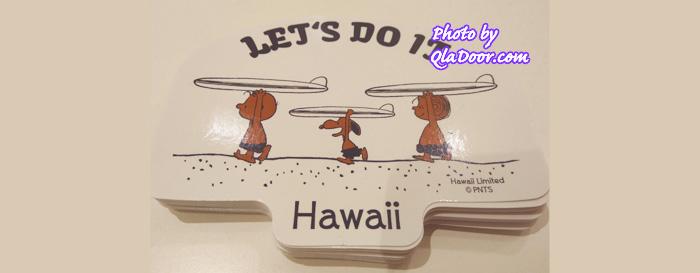 ハワイの日焼けスヌーピーとチャリブラウン&ライナスステッカー