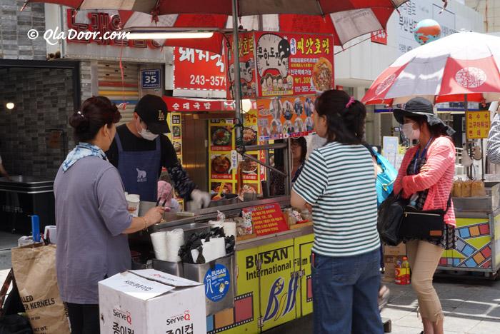 釜山biff広場で売っているシアホットク