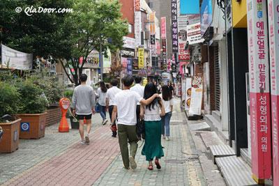 釜山西面通の若者カップル
