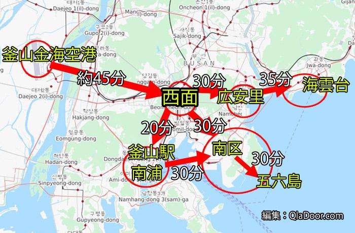 釜山メイン観光地マップ・西面