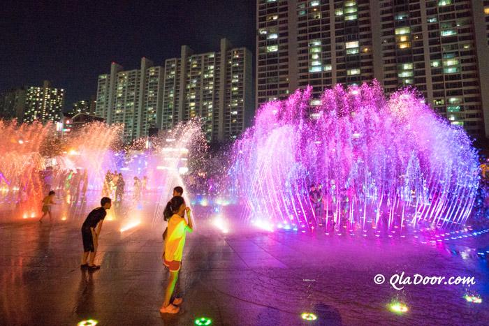 釜山観光地・多大浦の夢の落照噴水