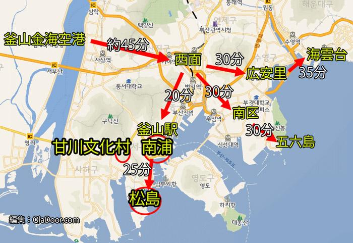 釜山観光の南浦地域の地図