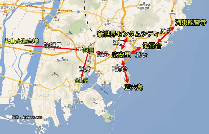 釜山観光の海雲台地域の地図