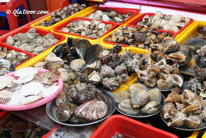 釜山チャガルチ市場の貝類