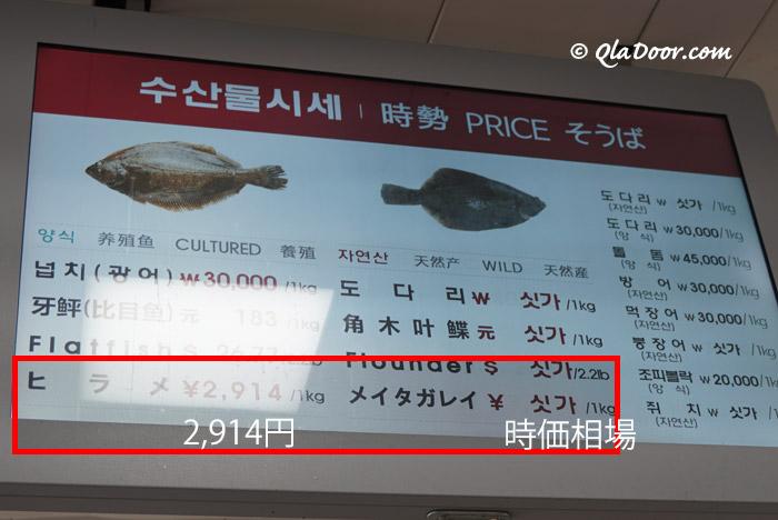 釜山チャガルチ市場のヒラメとウニの値段