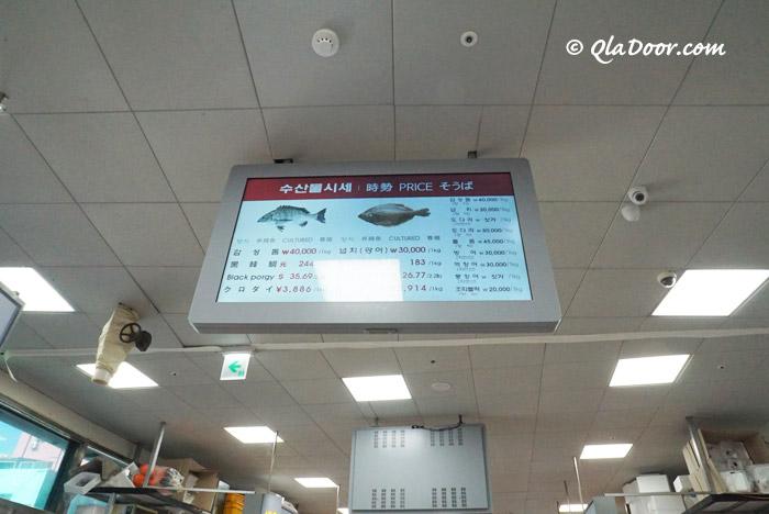 釜山チャガルチ市場のその日の相場・値段表