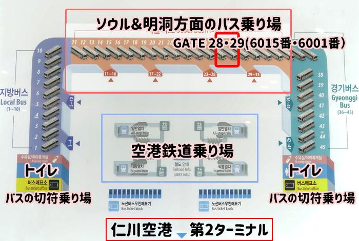 仁川空港から明洞リムジンバス停留所・乗り場の地図