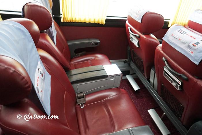 明洞とソウル行きの高級リムジンバスのシート