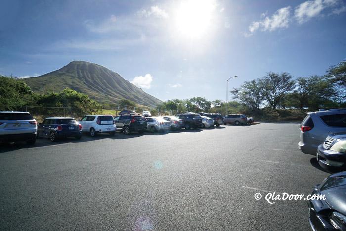ハワイ・ココヘッドトレイルの駐車場
